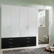 Vestra Mirror Wardrobe Wide In White And Black With 6 Doors