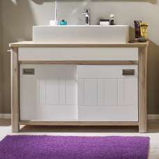 Vestra Vanity Cabinet With Sink In Sanremo Oak And Matt White