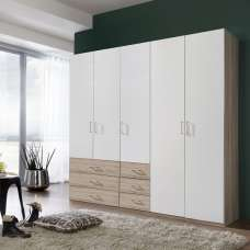 Vestra Wooden Wardrobe In Oak Effect And White With 5 Doors