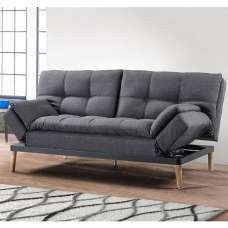 Viano Fabric Sofa Bed In Grey With Wooden Legs