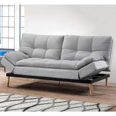 Viano Fabric Sofa Bed In Light Stone Grey With Wooden Legs