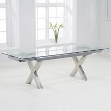 Viano Extendable Glass Dining Table In Clear And Stainless Steel