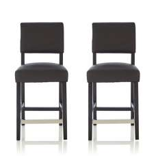 Vibio Bar Stools In Black Faux Leather In A Pair