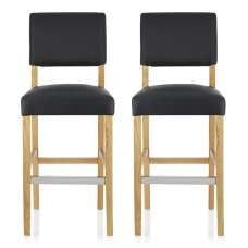Vibio Bar Stools In Black PU With Oak Legs In A Pair