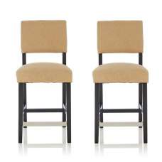 Vibio Bar Stools In Oatmeal Fabric And Black Legs In A Pair