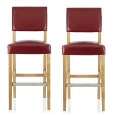 Vibio Bar Stools In Red PU With Oak Legs In A Pair