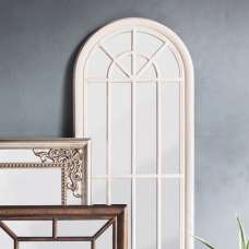 Leona Wall Floor Mirror In Antique White