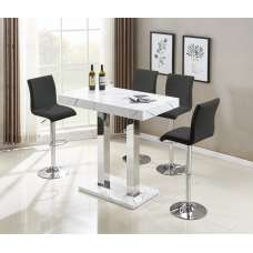 Vida Bar Table In Glossy Marble Finish 4 Ripple Black Stools
