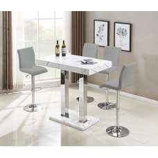 Vida Bar Table In Glossy Marble Finish 4 Ripple Grey Stools