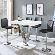 Vienna Bar Table In White Gloss And 4 Ripple Black Bar Stools