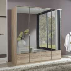 Vista Mirrored Wardrobe Large In Oak Effect With 4 Doors