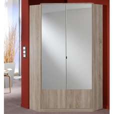 Vista Mirrored Corner Wardrobe In Oak Effect With 2 Doors