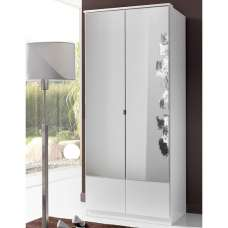 Vista Contemporary Mirrored Wardrobe In White With 2 Doors