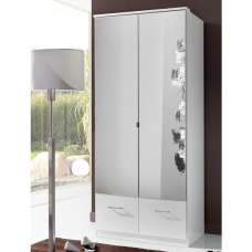 Vista Mirrored Wardrobe In White With 2 Doors And 2 Drawers