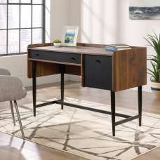 Vittoria Wooden Compact Computer Desk In Walnut And Black