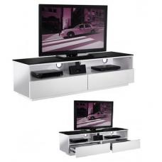 Iceburg TV Stand In High Gloss White With Black Glass