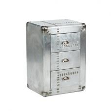 Waldron Bedside Cabinet In Silver With 3 Drawers