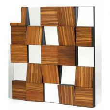 Modern Wooden Look Square Wall Mirror