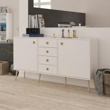 Walton Wooden Sideboard In White And Oak Legs With 2 Doors