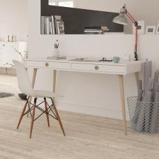 Walton Wooden Wide Desk In White And Oak Legs With 2 Drawers