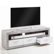 Waples TV Stand In Concrete And Noble White With 3 Drawers