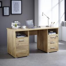Warwick Wooden Computer Desk In Navara Oak Repro With Storage