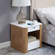 Wasdale Smart Bedside Table In Ash And White Without Light