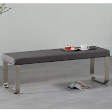 Washington Medium Dining Bench In Grey Faux Leather