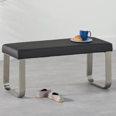 Washington Small Dining Bench In Black Faux Leather
