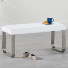Washington Small Dining Bench In White Faux Leather