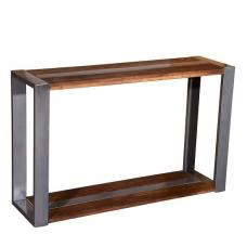 Watford Wooden Console Table In Acacia Wood And Chrome 2
