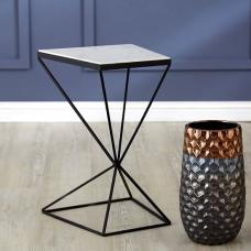 Watson Trapezoid Side Table In Marble Top With Matte Black Legs
