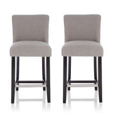Wayman Bar Stools In Grey Fabric And Black Legs In A Pair
