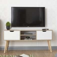 Webster Wooden TV Stand Rectangular In Oak And White