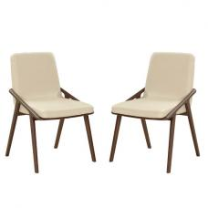 Webstar Dining Chair In Cream And Ash With Metal Legs In A Pair
