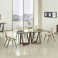 Webstar Marble Large Dining Table In Multicolor With 6 Chairs