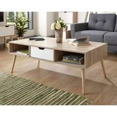 Webster Wooden Coffee Table Rectangular In Oak And White