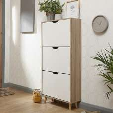 Webster Wooden Shoe Cabinet In White And Oak With 3 Doors