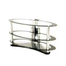 Westa Glass TV Stand Oval In Clear With Black Border