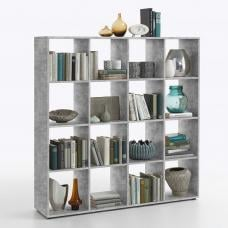 Westphalen Bookcase In Concrete Colour With 16 Compartments