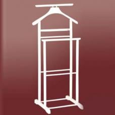 Dual Rail Wooden Valet Stand in White