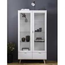 Wilcox Display Cabinet In White And Sonoma Oak With 2 Doors