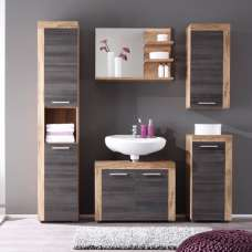 Wildon Wooden Bathroom Furniture Set In Walnut And Dark Brown