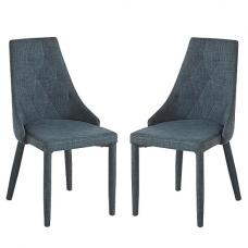 Wilkinson Dining Chair In Grey Fabric In A Pair