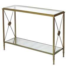 Williston Mirrored Glass Console Table With Metal Legs
