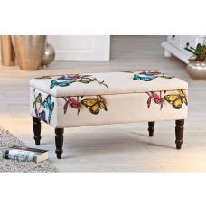 Willow Storage Bench Rectangular In White With Wooden Legs