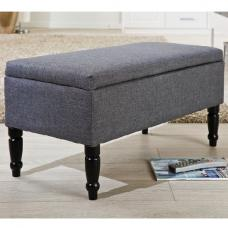 Willow Storage Bench Rectangular In Grey With Wooden Legs