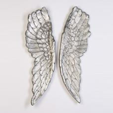 Wings Decorative Wall Art In Antique Silver Finish