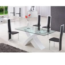 X Glass Dining Table in High Gloss White Base With 6 Chairs