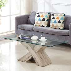Xanti Glass X Base Coffee Table In Clear With Grey Oak Effect